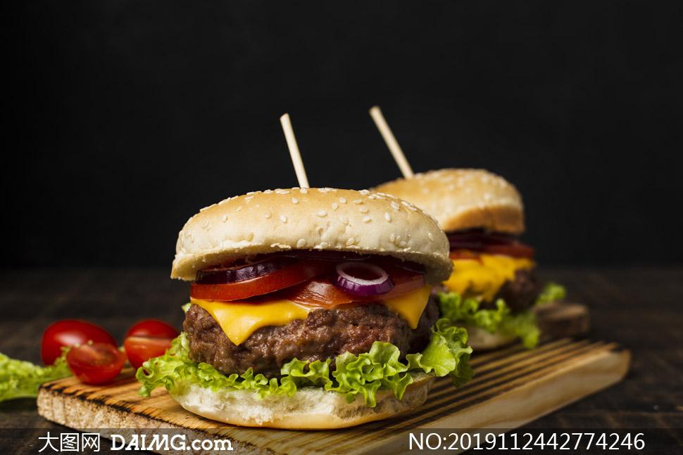 让人大快朵颐的汉堡包摄影高清图片