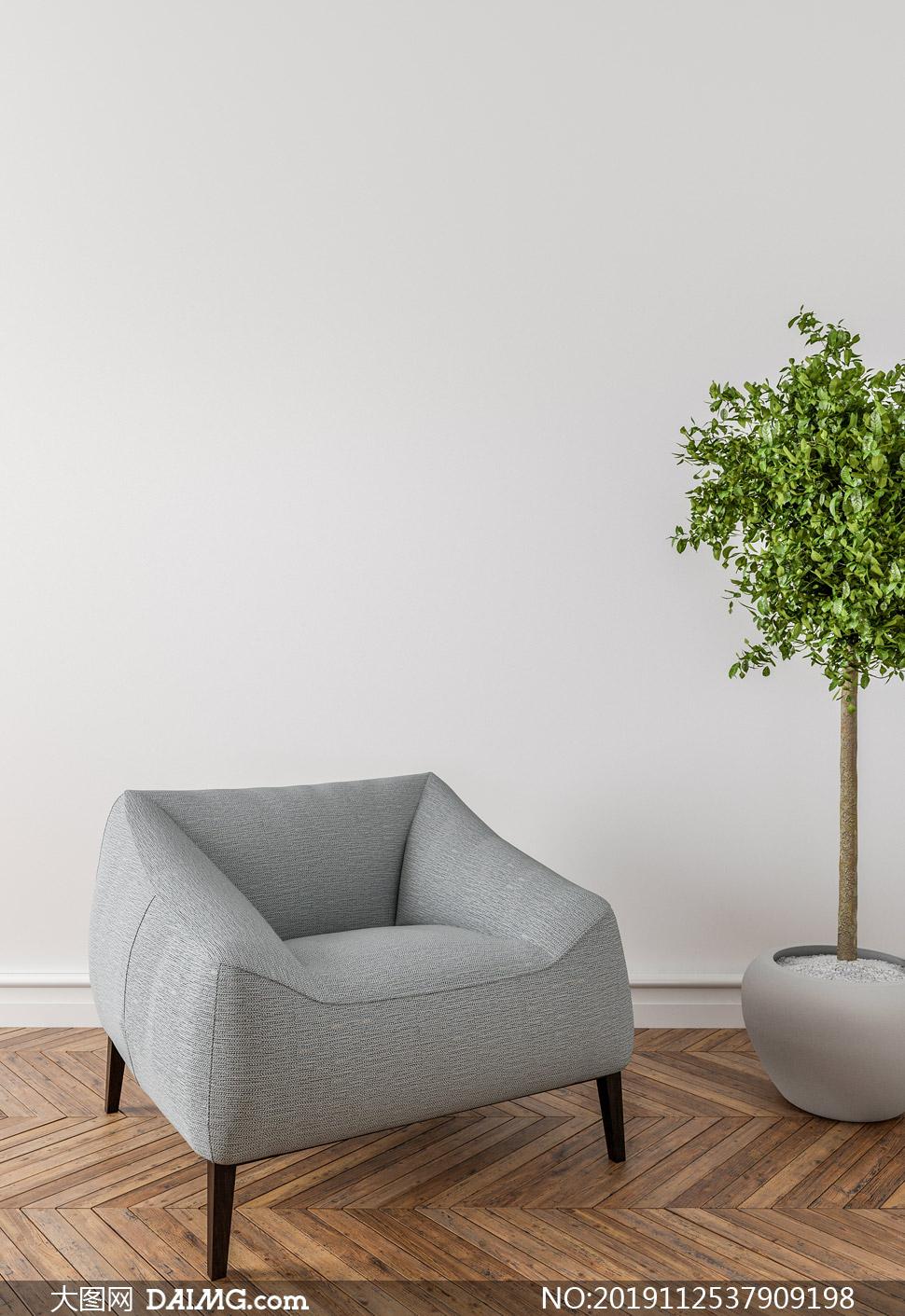 房间绿叶植物与单人位沙发高清图片