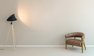 房间真皮沙发与落地灯摄影高清图片