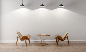 吊灯下的圆几椅子家具摄影高清图片