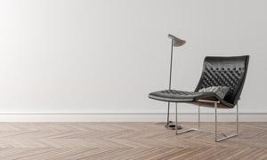 房间落地灯与真皮躺椅摄影高清图片