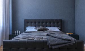 卧房内双人床陈设布置摄影高清图片