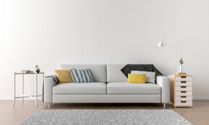 台灯抽屉柜与沙发枕头摄影高清图片