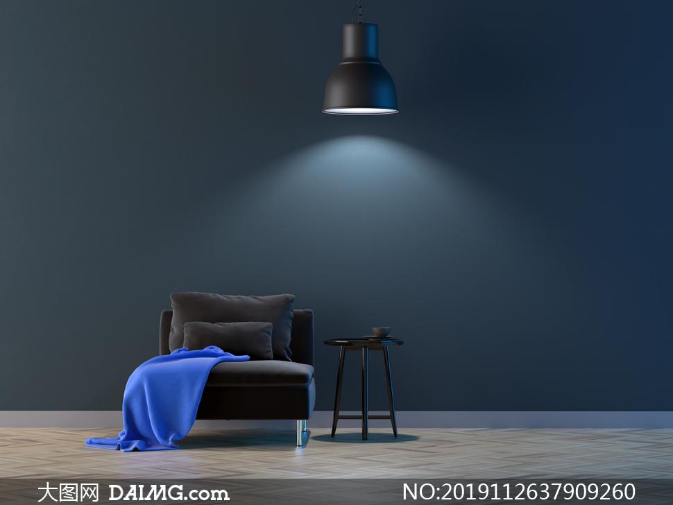 灯光下的沙发与圆几等摄影高清图片
