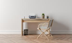 室内靠墙的桌子与椅子摄影高清图片