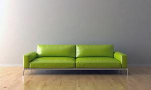 房间里的绿色真皮沙发摄影高清图片