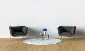茶几插花与沙发等陈设摄影高清图片