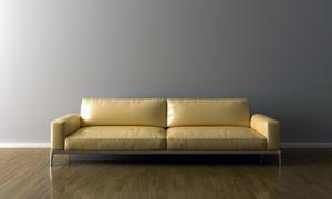 靠墙的浅黄色沙发家具摄影高清图片