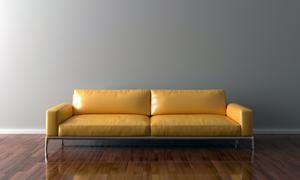 靠墙放的两人座位沙发摄影高清图片