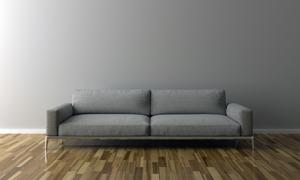 墙边灰色布艺沙发家具摄影高清图片