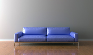 墙边的浅蓝色沙发家具摄影高清图片