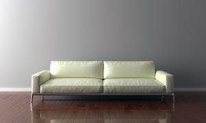 墙边的米白色沙发家具摄影高清图片