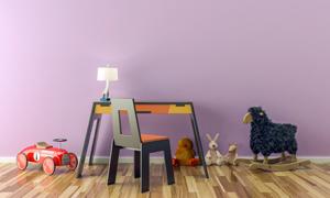 台灯桌椅家具与玩具等摄影高清图片