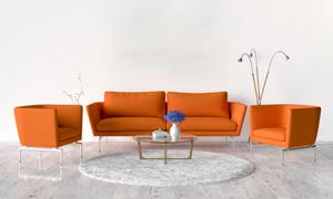茶几落地灯与组合沙发摄影高清图片