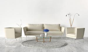 茶几插花与米白色沙发摄影高清图片