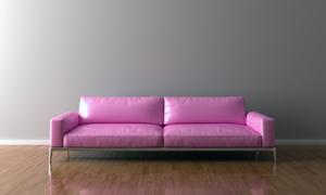 靠墙放的粉色沙发家具摄影高清图片