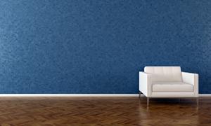 室内蓝色墙与白色沙发渲染效果图片