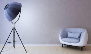 沙发与三角支架落地灯渲染效果图片