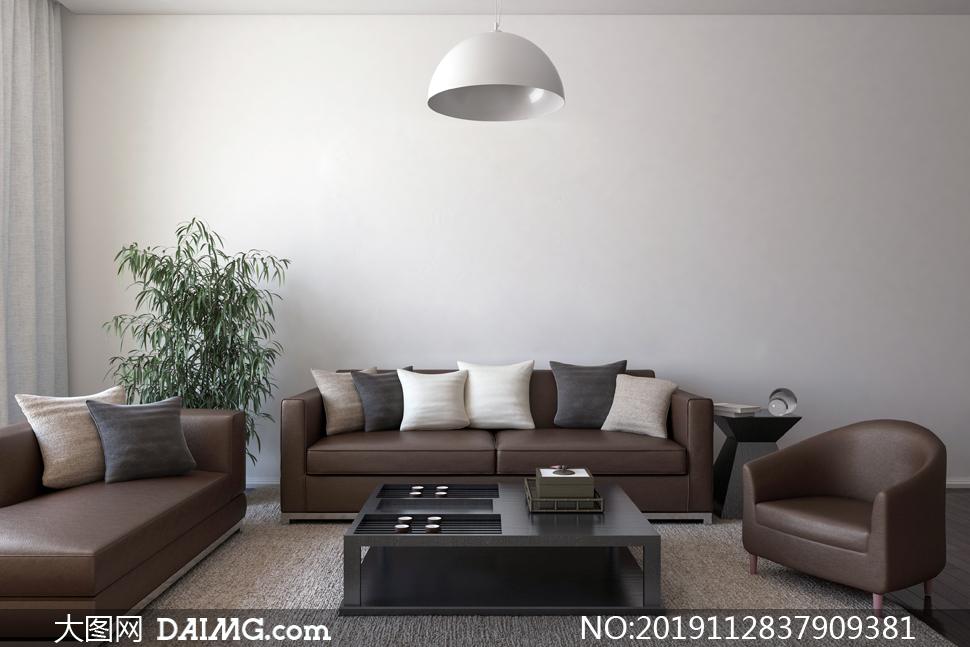 客厅沙发与绿叶植物等渲染效果图片