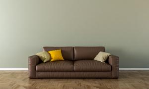 房间枕头与棕色的沙发渲染效果图片