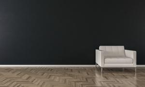 黑色墙壁与白色的沙发渲染效果图片