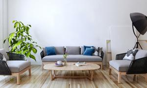 客厅绿植沙发茶几家具摆设高清图片
