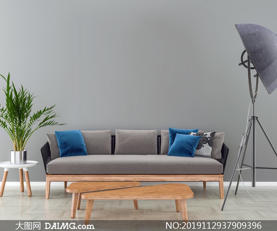 落地灯绿植与实木家具渲染效果图片