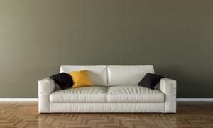 在上面放了枕头的白色沙发渲染图片