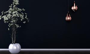 鲜花植物与亮着的灯具渲染效果图片