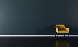 黑色墙壁与黄色沙发椅渲染效果图片