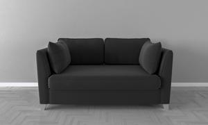 灰色墻面與黑色的沙發渲染效果圖片