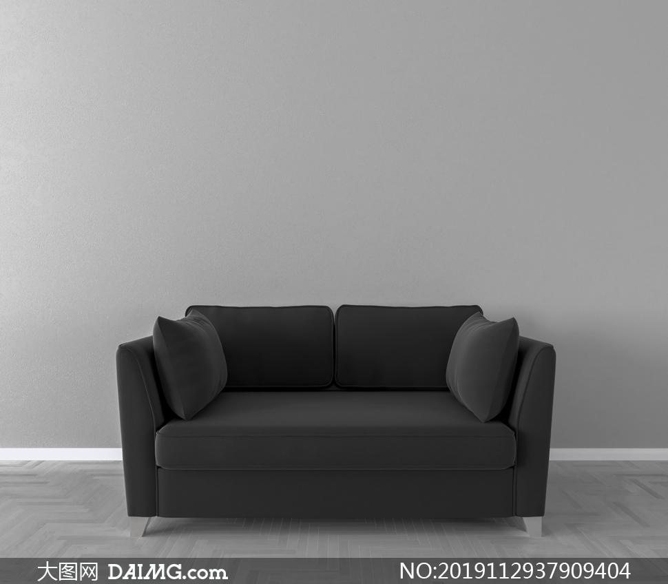灰色墙面与黑色的沙发渲染效果图片