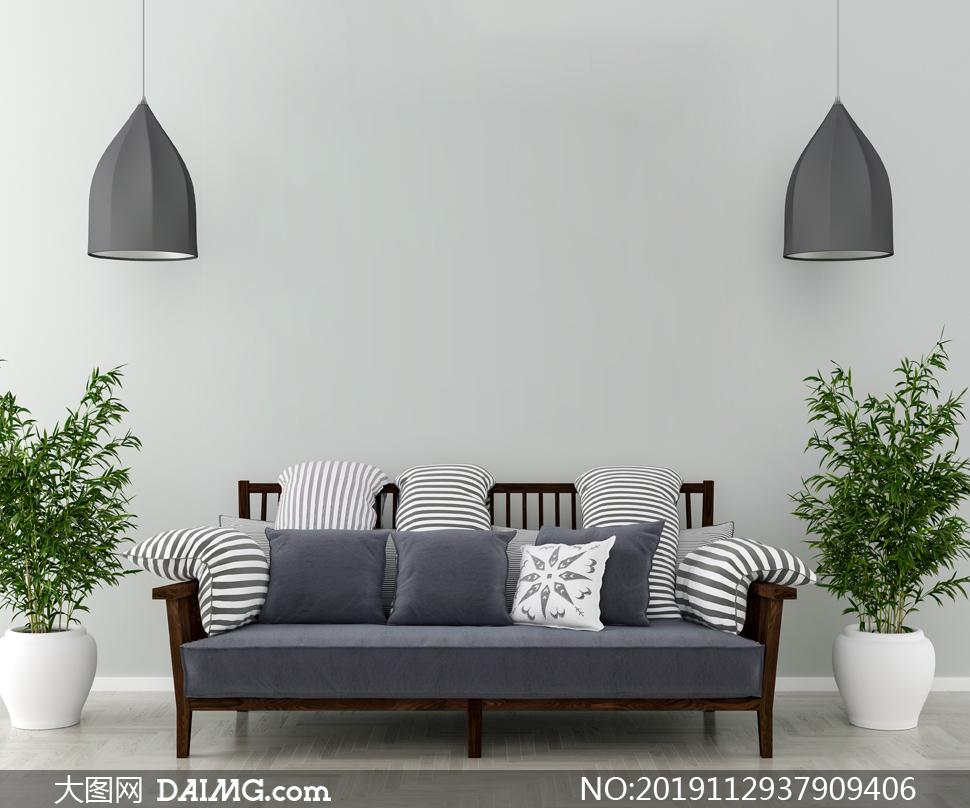 客厅绿植与靠墙的沙发渲染效果图片