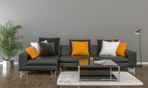室內沙發茶幾與落地燈家具渲染圖片