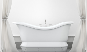 房間浴簾與白色的浴缸渲染效果圖片