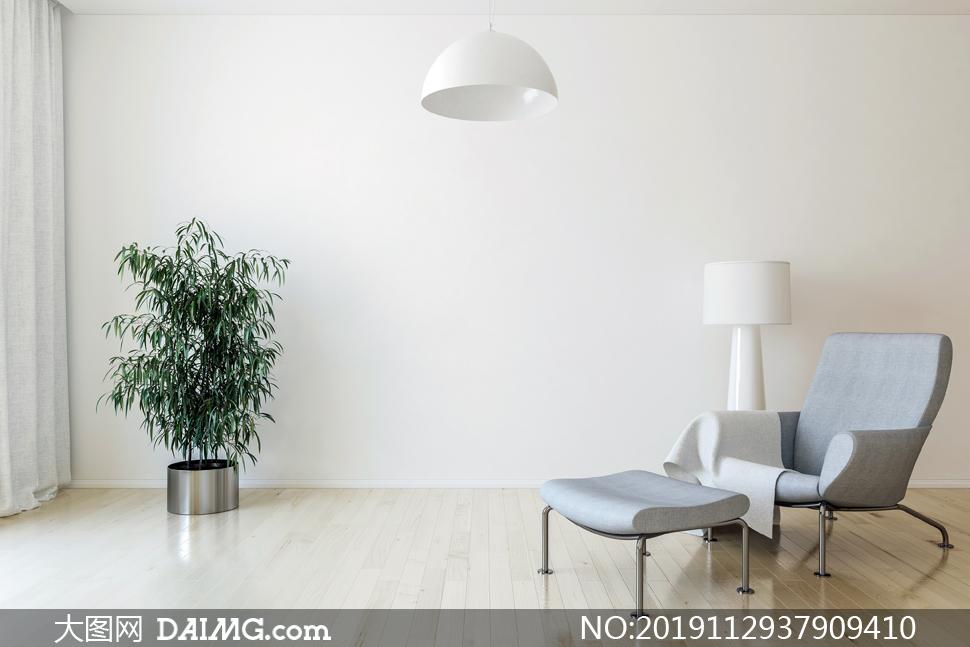 房间灯具与沙发绿植等渲染效果图片
