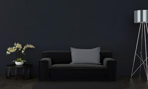 沙發鮮花與落地燈陳設渲染高清圖片