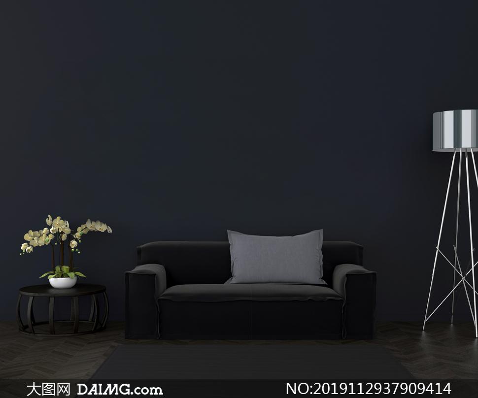 沙发鲜花与落地灯陈设渲染高清图片