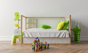 房間積木玩具與兒童床渲染效果圖片
