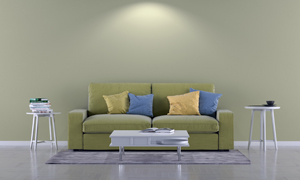 客廳燈光下的沙發家具擺設渲染圖片