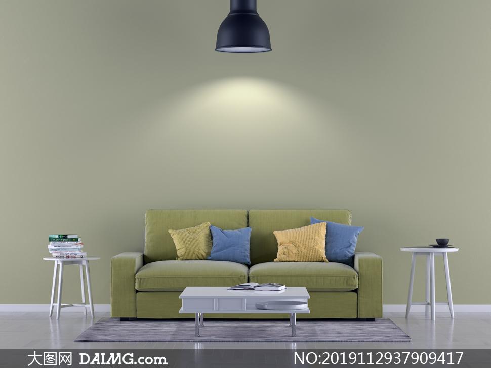客厅灯光下的沙发家具摆设渲染图片