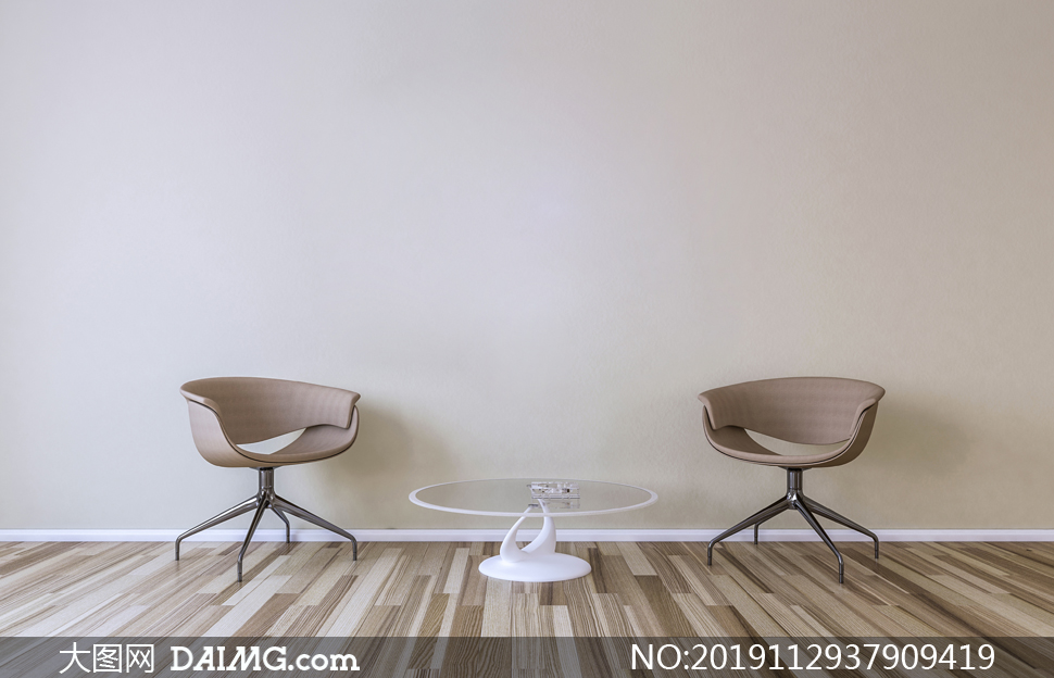 房间椅子与圆形的茶几渲染高清图片