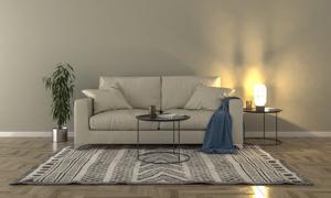 铺了地毯的客厅家具摆设等渲染图片