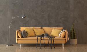 仙人掌植物与沙发落地灯等渲染图片