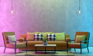 茶幾吊燈與沙發等家具擺設高清圖片