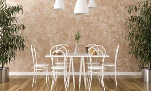 吊燈下的桌椅家具陳設渲染效果圖片