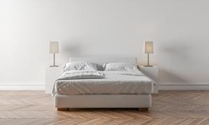简约风格卧室房间布置渲染高清图片