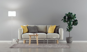 落地灯绿植与沙发茶几高清图片素材