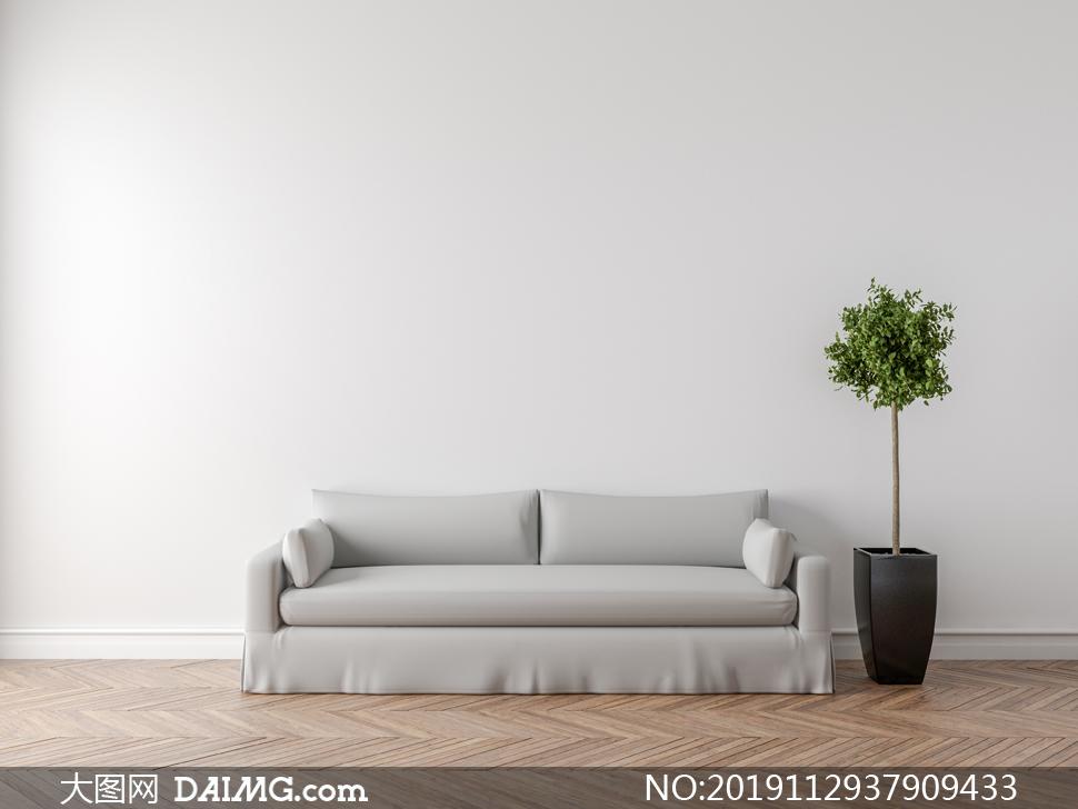 房间里沙发与绿叶植物渲染高清图片