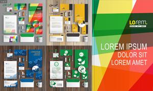 绿叶与曲线等元素企业视觉矢量素材